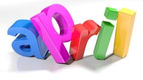 3 aprile la D variopinta scrive - la rappresentazione 3D Fotografie Stock