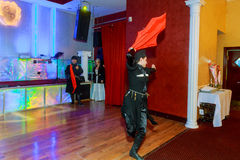 1° aprile 2017 NewYork NY U.S.A.: I ballerini georgiani che ballano un ballo di folclore mostrano in scena Fotografia Stock Libera da Diritti
