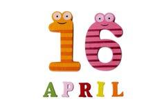 16 aprile su un fondo bianco dei numeri e delle lettere Immagini Stock