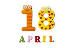 18 aprile su un fondo bianco dei numeri e delle lettere Immagine Stock