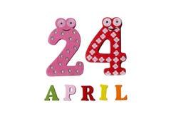 24 aprile su un fondo bianco dei numeri e delle lettere Fotografia Stock