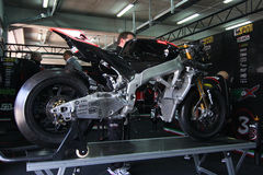 Aprilia Alitalia official racing team. Box Alitalia Aprilia Racing Team in the world super bike championship. Aprilia RSV4 without engine Royalty Free Stock Photos
