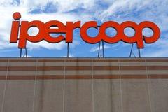 Ipercoop big sign at mall. Aprilia, Italy - August 2015: Ipercoop big sign at mall Stock Image