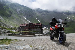 Aprilia Pegaso Strada on Transfagarasan Royalty Free Stock Images