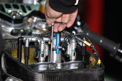 Aprilia RSV4 adjusting injection stock image