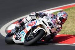 Apriliarsv4 Fabriek van PATA Racing Team Aprilia, door Noriyuki Haga JPN in actie tijdens de Superbike-Praktijk in Imola wordt ge royalty-vrije stock afbeeldingen