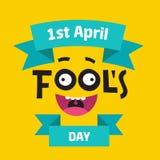 Aprils Fools dagbegrepp med färgrik text på gul bakgrund Skriftlig märka sammansättning för hand med gyckelmakaren vektor illustrationer