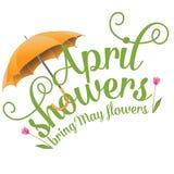Aprilschauer holen Mai-Blumendesign Stockfoto