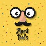 Aprilscherzkarikaturgesicht mit lustigen Gläsern und dem Schnurrbart lizenzfreie abbildung