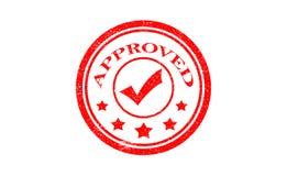 aprobado sello muestra aprobada del grunge redondo rojo Imagen de archivo libre de regalías