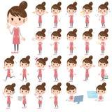 Apron Bun hair mom. Set of various poses of Apron Bun hair mom Stock Photos