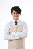 Apron and businessman. Businessman dressed in the apron Royalty Free Stock Photo