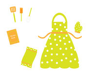 Apron & cookware utensils accessories Royalty Free Stock Image