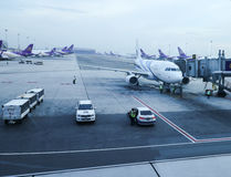 Apron inside of Suvarnabhumi Airport. Suvarnabhumi Airport is one of two international airports serving Bangkok Royalty Free Stock Image