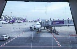 Apron inside of Suvarnabhumi Airport. Suvarnabhumi Airport is one of two international airports serving Bangkok Royalty Free Stock Photo