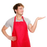 Apron man showing Royalty Free Stock Images