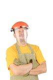 Apron man smiling with arm crossed. Royalty Free Stock Image
