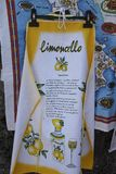 Apron depicting the recipe for Limoncello. Apron outside a souvenir`s hop in Italy, depicting the recipe to make Limoncello Stock Photos