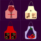Apron with a picture of cat dog ball. Apron, pinafore,kitchen Royalty Free Stock Photos