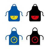 Apron. A set of apron icons with a clock Stock Photos