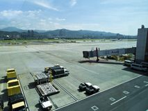 Apron in Taipei Songshan Airport. Taipei, Taiwan - JUNE 27, 2015: Apron in Taipei Songshan Airport on June 27,2015 in Taipei,Taiwan Stock Image