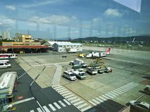Apron in Taipei Songshan Airport. Taipei, Taiwan - JUNE 27, 2015: Apron in Taipei Songshan Airport on June 27,2015 in Taipei,Taiwan Royalty Free Stock Image