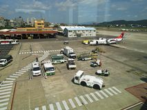 Apron in Taipei Songshan Airport. Taipei, Taiwan - JUNE 27, 2015: Apron in Taipei Songshan Airport on June 27,2015 in Taipei,Taiwan Stock Photos
