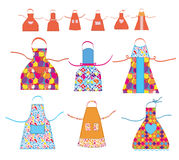 Aprons cooking set with patterns Royalty Free Stock Image