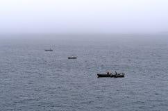 Aprontando os barcos na névoa Fotos de Stock Royalty Free