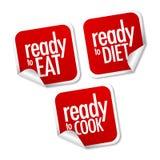 Apronte para comer, fazer dieta e cozinhar etiquetas Fotografia de Stock