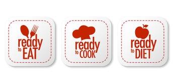 Apronte para comer, fazer dieta e cozinhar etiquetas Foto de Stock