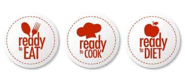 Apronte para comer, fazer dieta e cozinhar etiquetas Fotografia de Stock Royalty Free