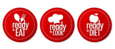 Apronte para comer, fazer dieta e cozinhar etiquetas Imagem de Stock