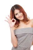 Aprovação da mostra da mulher, acordo, aceitando, sinal positivo da mão Imagem de Stock