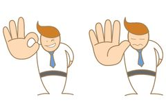Aprovação e parada do personagem de banda desenhada ilustração royalty free