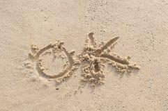 APROVAÇÃO - escrita da areia na praia Fotografia de Stock