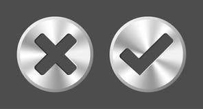 APROVADO e cancele botões redondos da Web do vetor Imagem de Stock Royalty Free