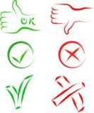 Aprovado e cancele sinais Imagem de Stock