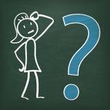 Aprovação grande da pergunta de Stickwoman do quadro-negro Imagens de Stock Royalty Free