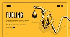 Aprovisionar de combustible la plantilla del vector de la página web de la red de las estaciones stock de ilustración