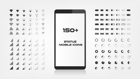Aproximadamente 150 ícones da relação O carregador da bateria, o sinal do wifi e o nível móveis da conexão cantam o grupo A forma ilustração do vetor