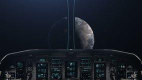 Aproximar-se um planeta com cabina do piloto da nave espacial ilustração royalty free