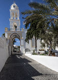 Aproxime ao quadrado principal em Melgalochori, Santorini Imagem de Stock Royalty Free