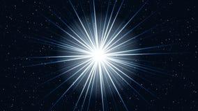 Aproxime o movimento de uma estrela do cosmos com raios brilhantes ilustração stock
