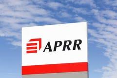 APRR-Zeichen auf einer Platte Stockbild