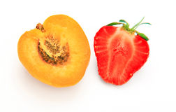 Aprricot and strawberry cut open Stock Photos