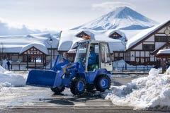 Après Snowstrom Mt Fuji en hiver, Japon Photographie stock libre de droits