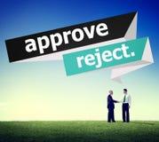 Apruebe el concepto cancelado rechazo de la selección de la decisión imágenes de archivo libres de regalías