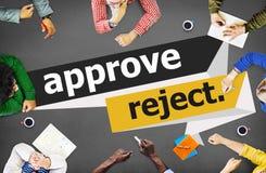 Apruebe el concepto cancelado rechazo de la selección de la decisión fotografía de archivo libre de regalías