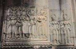 Apsara舞蹈家石头 免版税库存图片